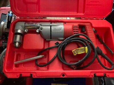 Milwaukee Right Angle Drill With Chuck Key Handle And 3 Self Feed Drill Bits