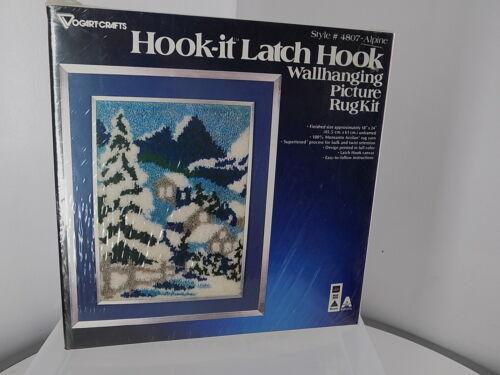 "Vtg Hook-It latch-hook Alpine winter-scene, 18"" X 24"", NOS with light box damage"