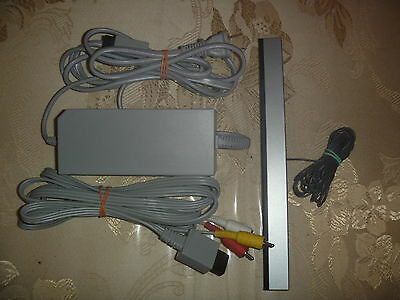 Official OEM Nintendo Wii Power Supply Ac Adapter + Wired Sensor Bar+ AV Cables