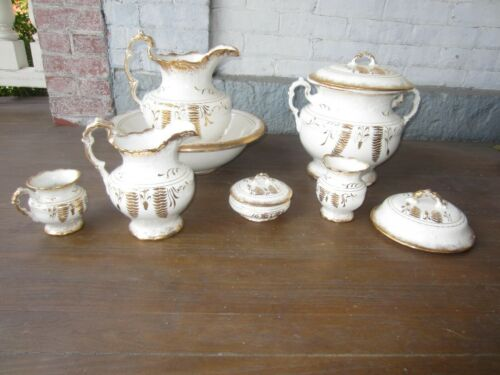 Antique Porcelain Chamber/Bath Set 10 pieces - White & Gold Victorian