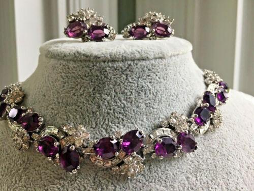 Vintage Signed Pennino Amethyst Purple Baguette Silver Tone Necklace & Earrings