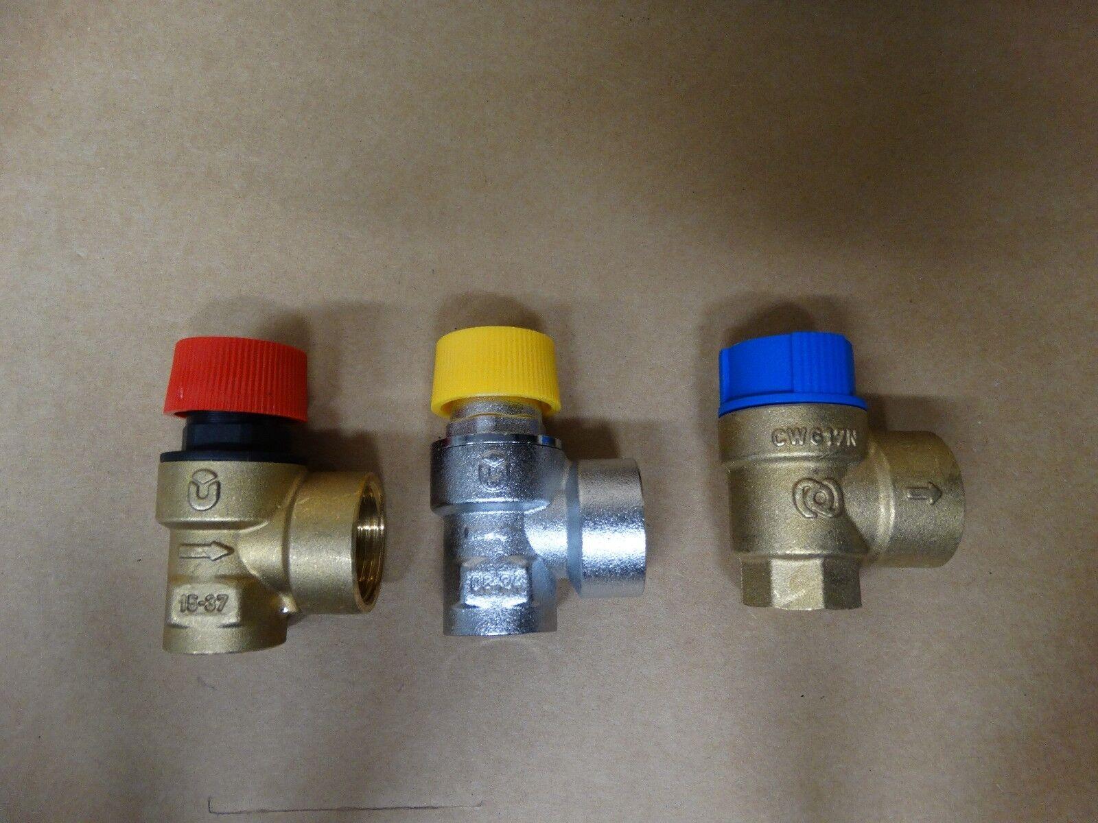 """Sicherheitsventil 1/2"""" 2,5 3 4 6 8 10 bar Überdruckventil Boiler Wasser Solar"""