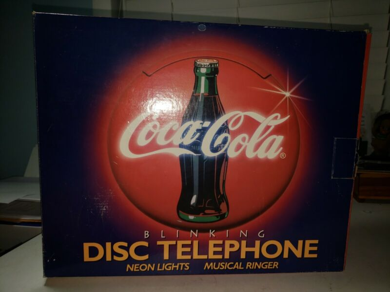 1995 COCA COLA DISC TELEPHONE Blinking Neon Musical Coke Vintage Phone RARE +Box