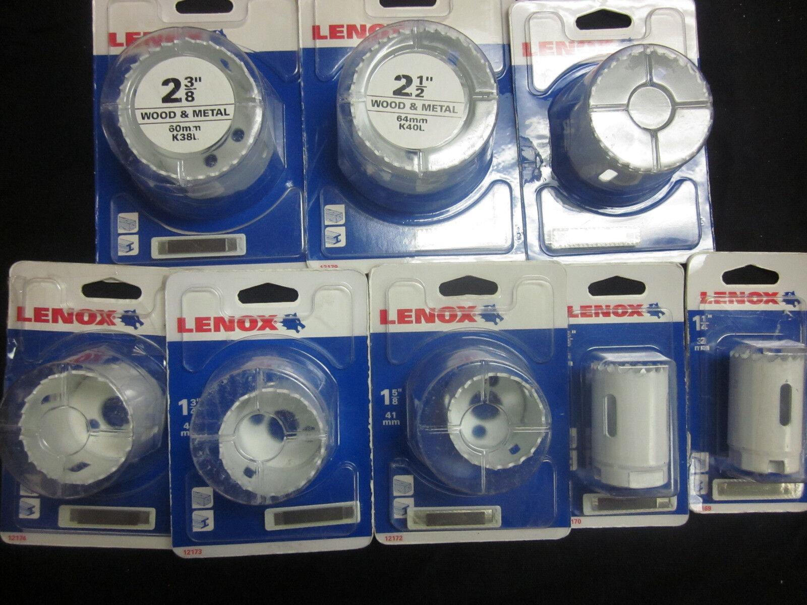 "8pc LENOX WOOD & METAL HOLE SAW SET 1-1/4"" TO 2-1/2"" ELECTRI"