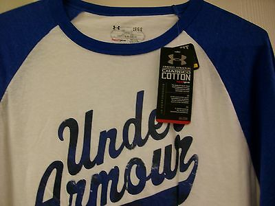Under Armour 3/4 Sleeve Men's Casual Baseball Shirt White/Blue Size: Medium