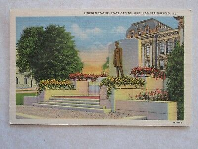 B548 Vintage Postcard Lincoln Statue State Capital Springfield IL Illinois Abe, used for sale  Winnebago