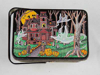 Vintage Keller Charles Halloween Collectible HAUNTED HOUSE Tin with Handle Ghost