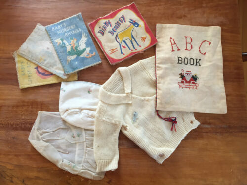 Antique cloth baby books and bonnets LOT