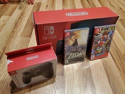 Nintendo Switch - Gray Console Bundle with Zelda Mario Odyssey