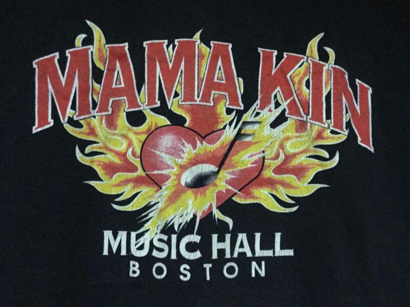 vtg MAMA KIN MUSIC HALL L SHIRT rock concert Aerosmith boston bar club 1990