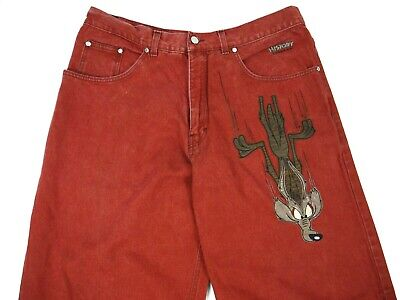 ICEBERG HISTORY JEANS LOONEY TUNES WILE E COYOTE RED DENIM MADE ITALY MENS 36x34