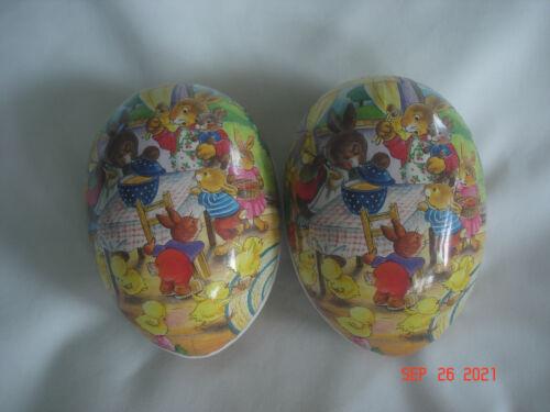 LOT 2 Vtg./Older GERMANY PAPER MACHE EASTER EGGS Bunny Rabbits & Porridge Scene