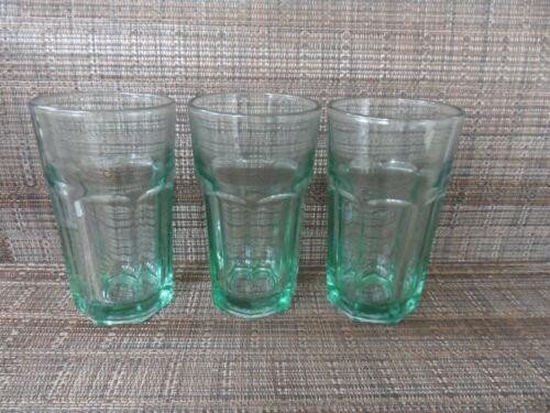 "3 Libbey Spanish Green Duratuff 4 1/2"" Juice Glasses Tumblers"