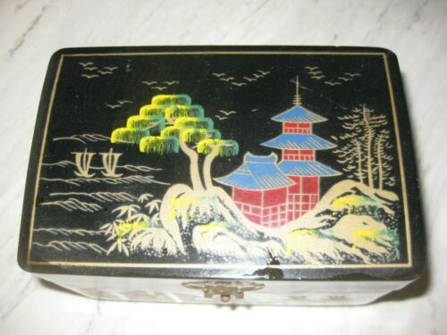 Vintage Japanese Lacquer Musical Trinket Jewelry Box with Dancing Ballerina