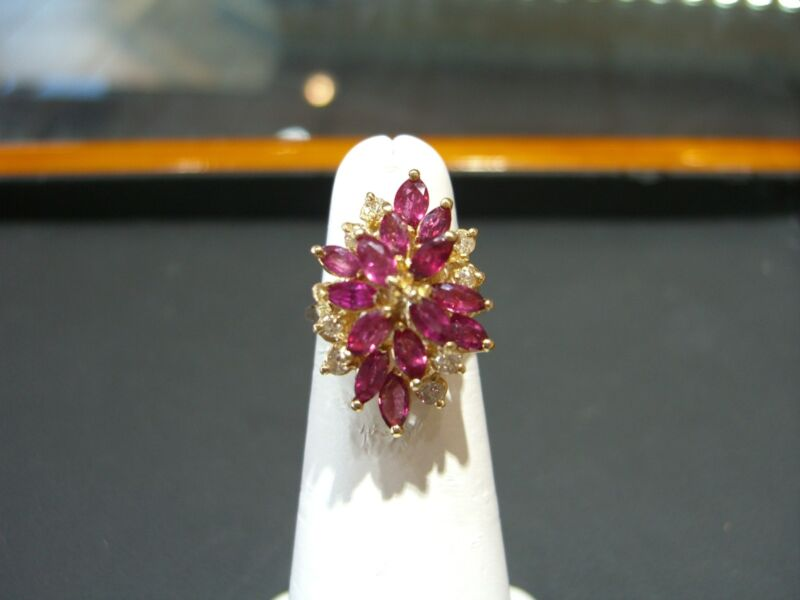 Fine Estate Womens 14 Karat Yellow Gold Ruby And Diamond Floral Ring Size 5.0