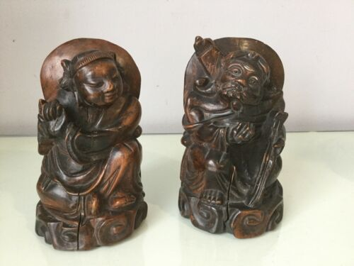 Pair Of Antique Chinese Rosewood Statues
