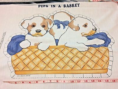 Vtg Fabric Panel Pups in a Basket Spotted Puppy Dog Springs Pillow Toy