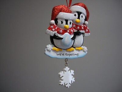 Polar X Family of 2 Penguins Expecting Baby Xmas Ornament Dangling Snowflake NWT
