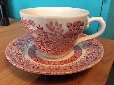 VINTAGE FOUR 2-PIECE CHURCHILL PINK ROSA TEACUP & SAUCER SETS> MADE IN ENGLAND Rosa Teacup