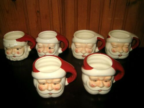 Set of 6 Pottery Barn Christmas SANTA FIGURAL MUGS 2015 Collection Coffee Cocoa