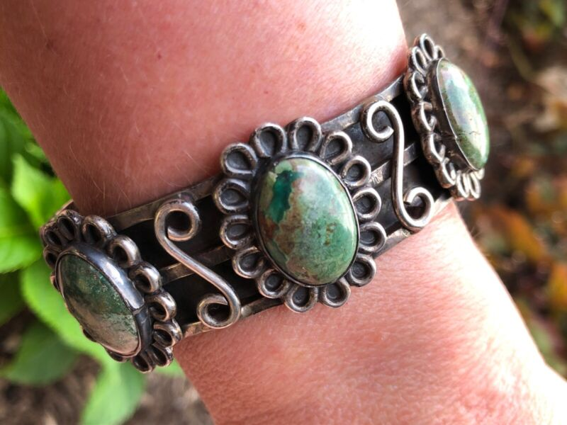 Unique Green Turquoise 3-Stone Sterling Silver Cuff Bracelet 71 Grams Heavy