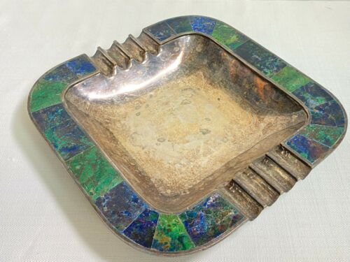 Mexican Modernist Los Castillo Taxco Large Silverplate Inlay Malachite Ashtray