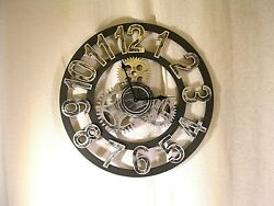 Vintage Style Gear Wall Clock,Decorative Hanging Decor Wood Art by Chevy K.