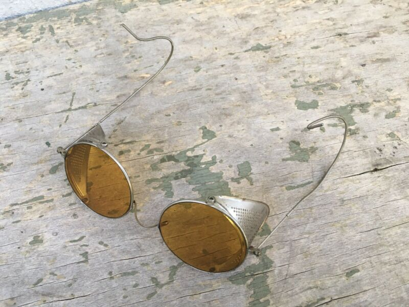 Antique Amber Willson Goggles Sunglasses Spectacles Vtg Steampunk Safety Glasses
