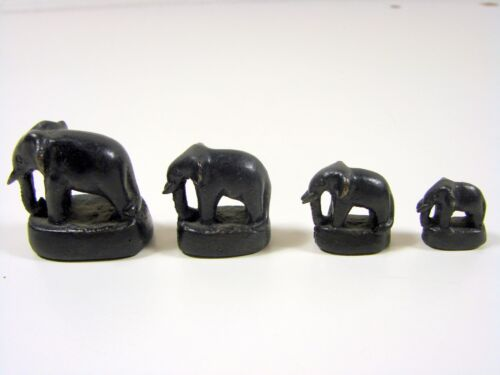 LOT 4 CHINESE ANTIQUE MINIATURE BRONZE ELEPHANT FIGURINES OPIUM WEIGHTS SIGNED