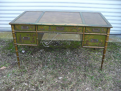 Drexel Asian Chinoiserie Faux Bamboo Hand Painted Writing Table Kneehole Desk