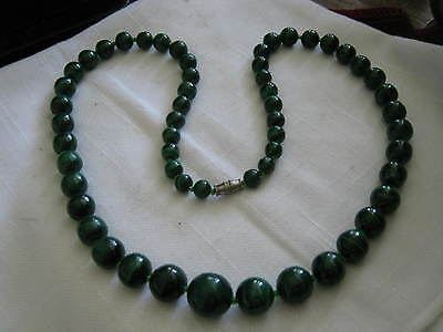 "25"" MALACHITE 57 BEAD NECKLACE Graduated 7mm to 14mm, Green Spacers, w/ Barrel"