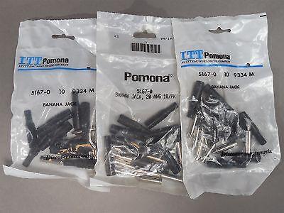 Lot Of 30 Pomona 5167-0 Banana Jacks Black 20 Awg - New