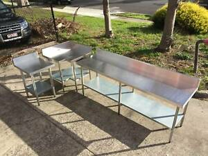 STAINLESS STEEL TABLES (WITH SPLASHBACK) (CAN DELIVER) Knoxfield Knox Area Preview