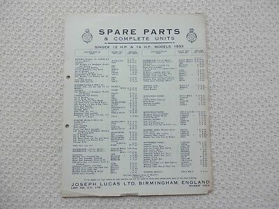 SINGER TWELVE 12 FOURTEEN 14 1933 LUCAS Parts List published March 1934