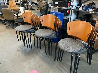 Stacking Chairs By Leland International Furniture Co. W Cherry Wood Back