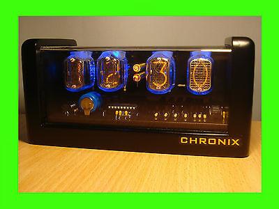 4xIN-12 Nixie Tubes Clock black mat case led & alarm steampunk retro watch