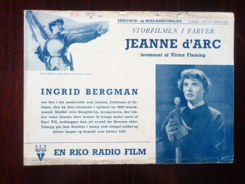 """Danish Press Release.Ingrid Bergman in """"Jeanne D"""