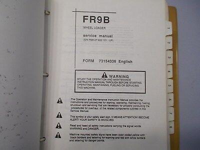 Fiat Allis Wheel Loader Fr9b Service Manual Form 73154336 R9b-2t Up 620 101 Up