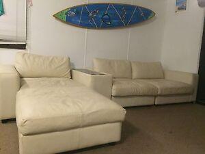 Genuine leather sofa/ white Byron Bay Byron Area Preview