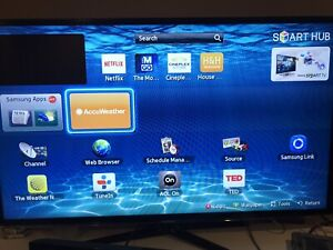 "50"" smart LED TV Samsung and surround sound bar and sub"