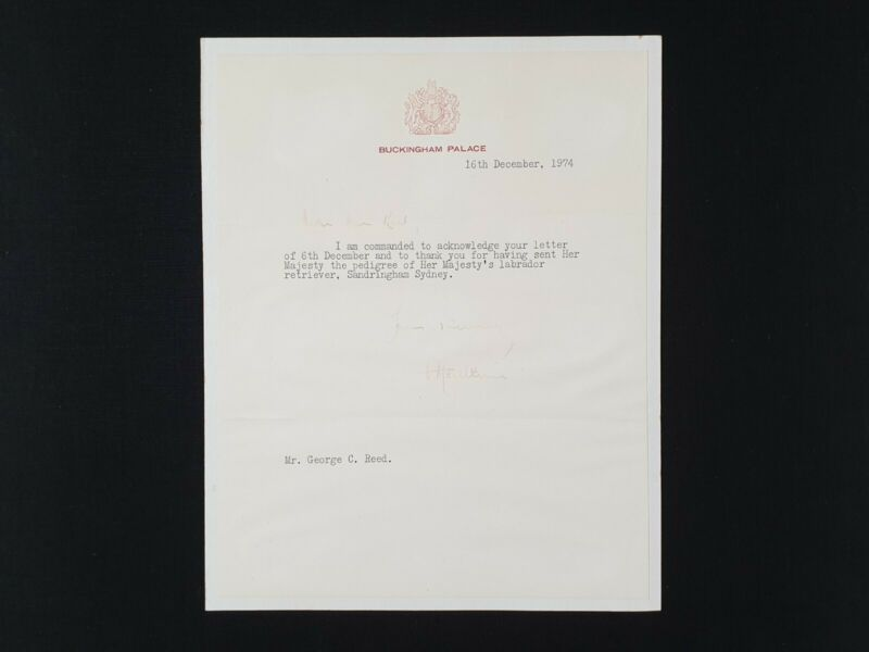 Queen Elizabeth II Signed Royalty Document Buckingham Palace Letter Labrador Dog