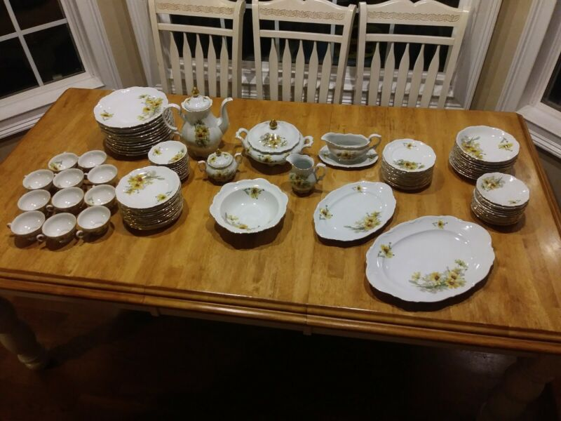 "Huge Set Mitterteich Bavaria ""Susan"" made in Germany place setting for 12"