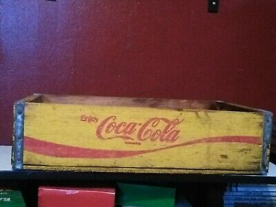 Vintage Coca-Cola Wooden Coke Yellow Soda Pop Crate Carrier Box case wood Ark.