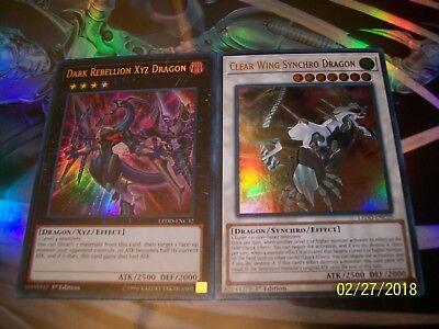 Dark Rebellion Xyz Dragon + Clear Wing Synchro Dragon Ultra Rare LEDD Yu-Gi-Oh!