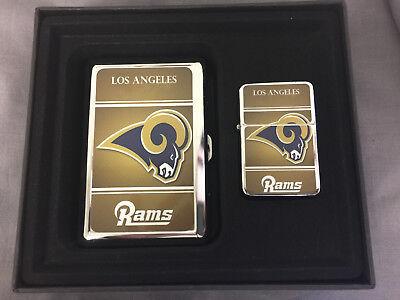 LOS ANGELES RAMS LOGO CIGARETTE CASE / WALLET AND LIGHTER GIFT SET