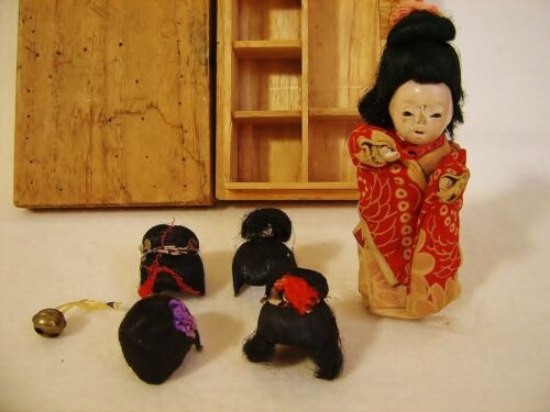 Antique c1881 Japanese Geisha Doll w 5 Human Hair Wigs in Orginal Box One Owner