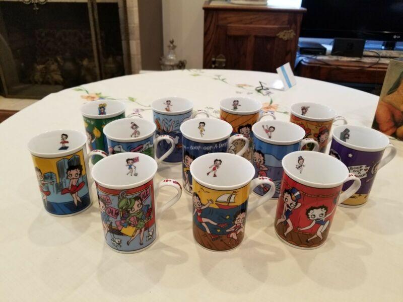 Betty Boop Collectors Mugs The Danbury Mint Fine Porcelain Set of 12 Tea Cup