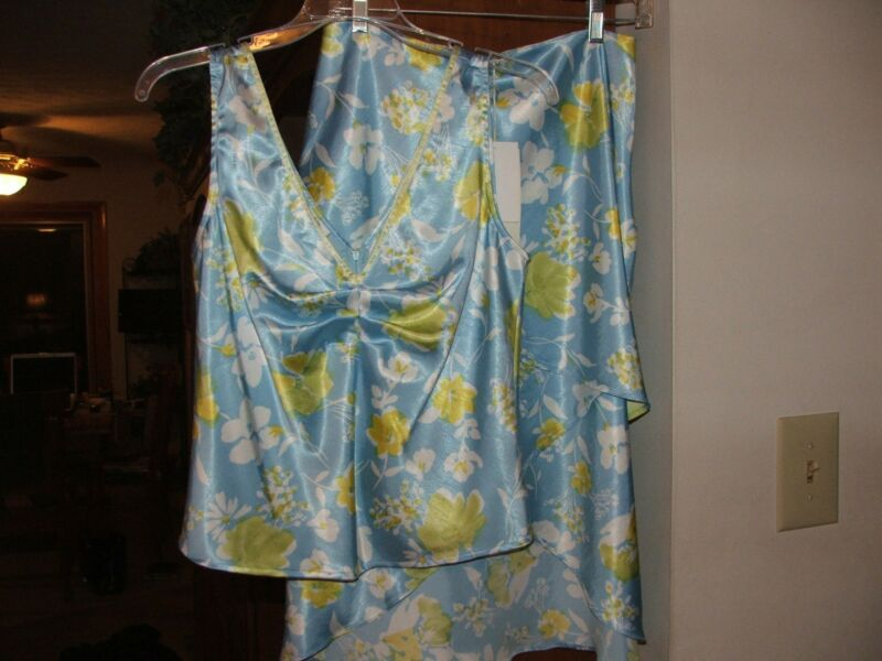 Womens size 6 Tyler Boe 2-piece summer skirt set, light blue, white & yellow