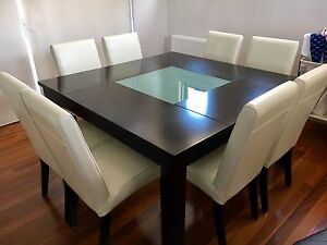 8 Seater Leather, Square Dining Table & Chairs Aberfeldie Moonee Valley Preview