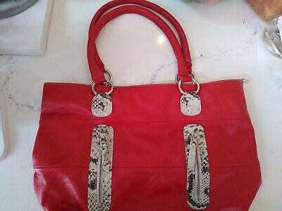 INNUE Women's Dark Red Leather Shoulder Handbag Purse Made in Italy
